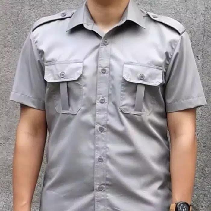 kemeja seragam kerja abu